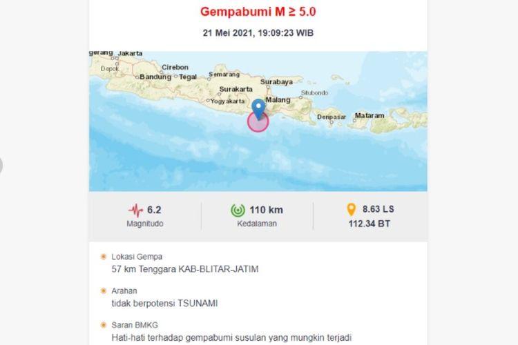 Tangkapan layar peringatan gempa bumi bermagnitudo 6,2 di Blitar, Jawa Timur.