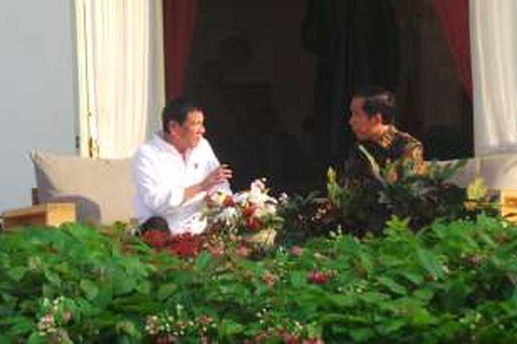 Presiden Joko Widodo menerima Presiden Filipina Rodrigo Duterte di Istana Merdeka, Jakarta,  Jumat (9/9/2016).