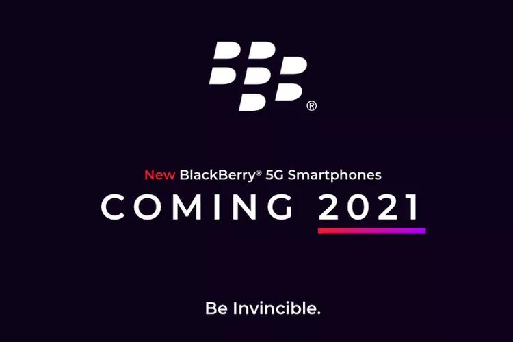 Poster pengumuman BlackBerry yang akan hadir lagi tahun 2021.