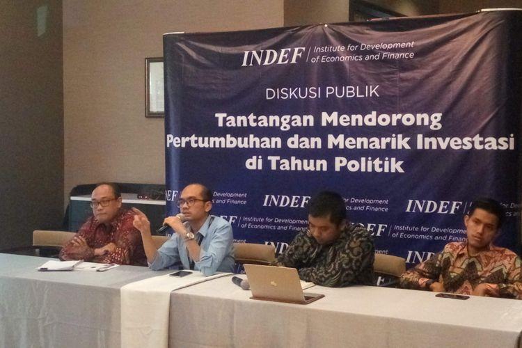 Diskusi yang digelar Institute for Development of Economics and Finance (Indef) di Jakarta, Kamis (7/2/2019).