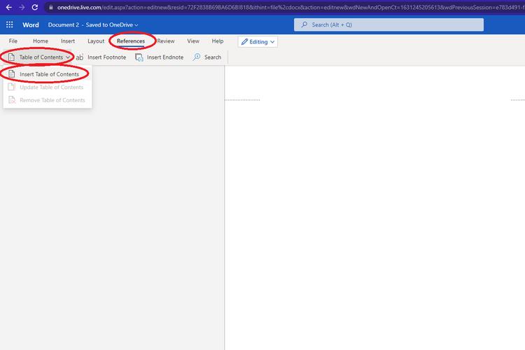 Cara membuat daftar isi di Microsoft Word berbasis web.