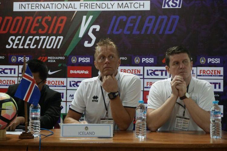 Pelatih Timnas Islandia Heimir Hallgrimsson dalam jumpa pers usai laga, Kamis (11/01/2018)