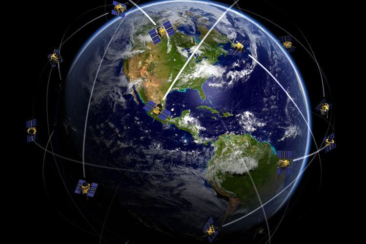 Ilustrasi konstelasi satelit EarthNow.