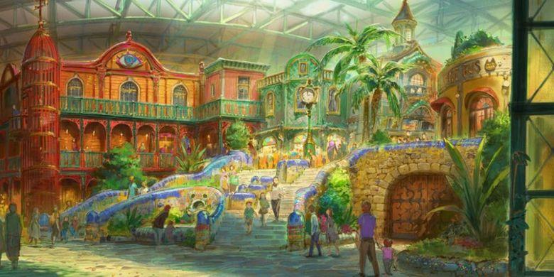 Taman hiburan seluas 200 hektar ini akan menampilkan bangunan bata Eropa yang muncul di banyak film studio Ghibli.