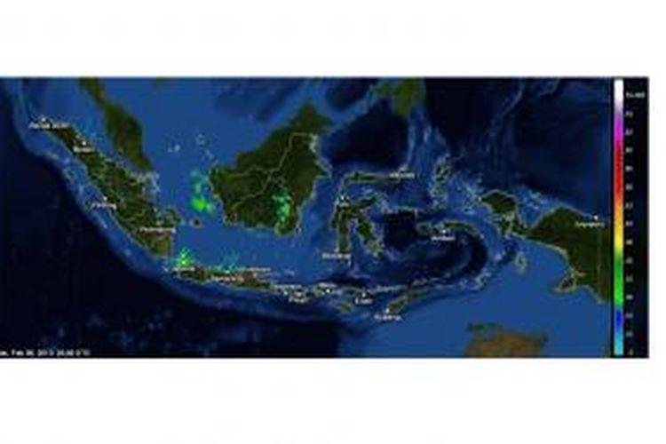 Citra radar cuaca wilayah Indonesia pada Senin (9/2/2015). Pengamatan terkini pada pukul 10.20 WIB.