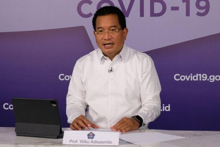 Juru Bicara Satuan Tugas Penanganan Covid-19 Wiku Adisasmito saat memberikan keterangan pers, Kamis (15/4/2021).