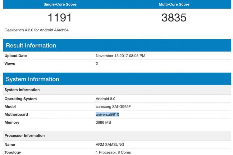 Bocoran screenshot Geekbench yang memperlihatkan spesifikasi Galaxy S9 Plus.