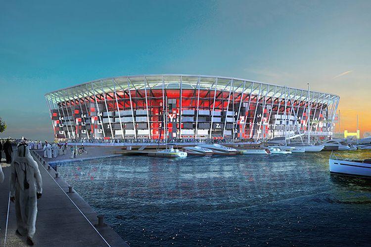 Rendering Stadion Ras Abu Aboud di Qatar.