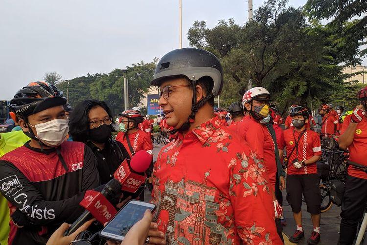 Gubernur DKI Jakarta Anies Baswedan ajak masyarakat membiasakan bersepeda di Hari Sepeda Dunia, Kamis (3/6/2021)