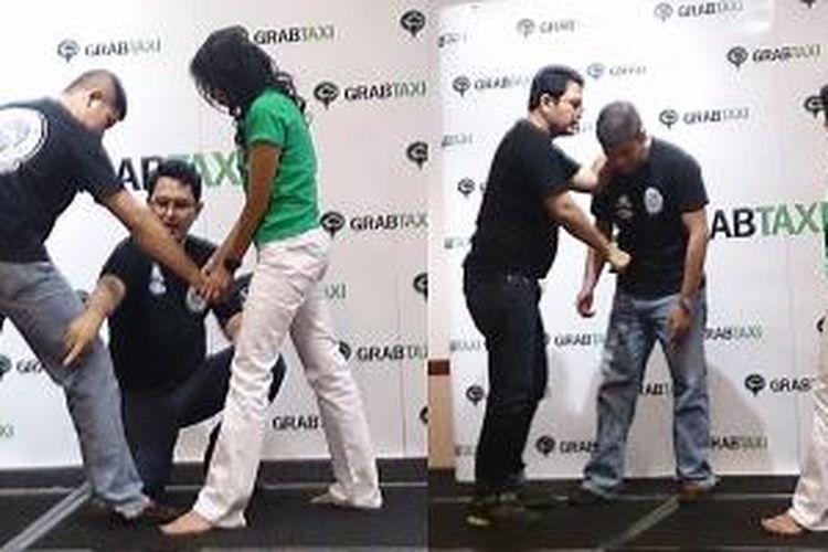 Acara GrabTaxi di Hotel Atlet Century, Jakarta (7/5/2015), menghadirkan pelatih seni bela diri Yuri Amadin, yang berbagi mengenai tip pertahanan diri bagi kaum wanita.