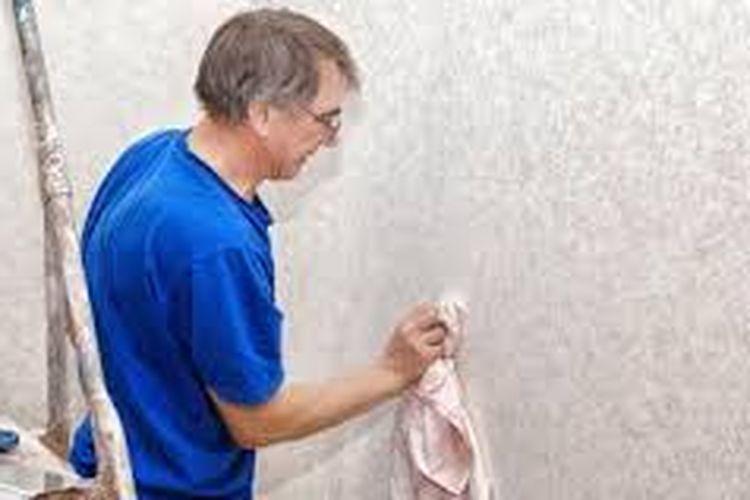 Ilustrasi membersihkan wallpaper.