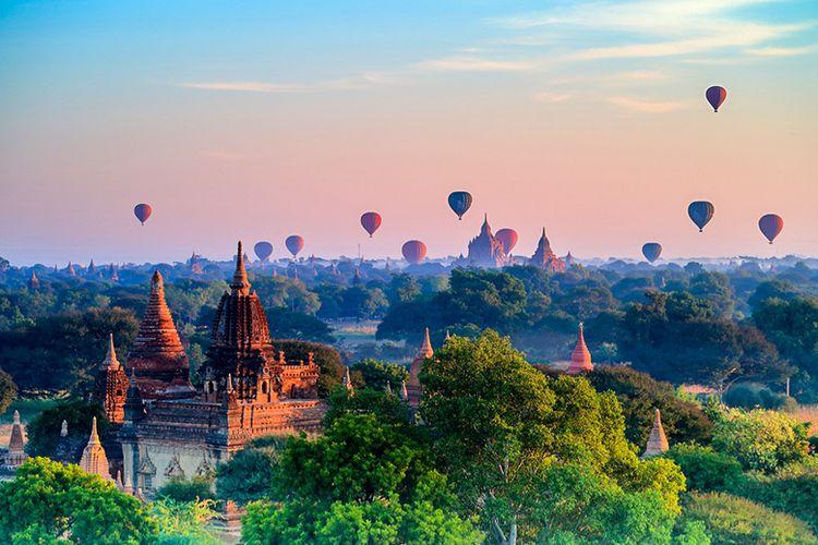 Balon Terbang di Bagan, Myanmar.
