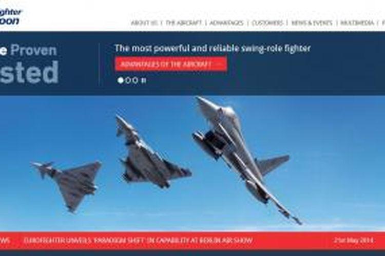 Laman muka situs Eurofighter dengan tampilan pesawat tempur buatan konsorsium Eropa tersebut, sebagaimana diunduh pada Selasa (10/6/2014).