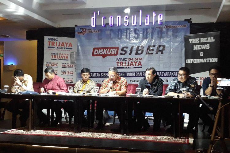 Diskusi RUU Kamtan Siber, Tumpang Tindih dan Rugikan Masyarakat? di kawasan Menteng, Jakarta Pusat, Rabu (21/8/2019).