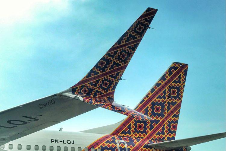 ujung sayap model Scimitar Winglet di pesawat B737 MAX 8 Lion Air untuk mengurangi drag dan menghemat bahan bakar pesawat.