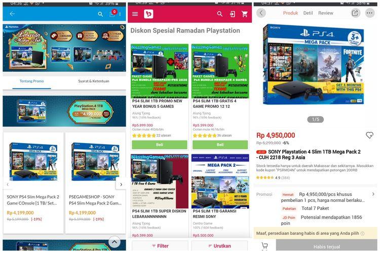 Ilustrasi PS4 yang stoknya habis di Blibli.com (kiri), Bukalapak (tengah), dan Jd.id (kanan).