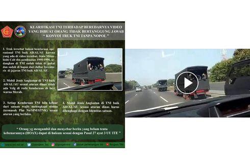 [HOAKS] Konvoi Truk TNI Tanpa Pelat Nomor