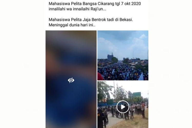 Status Facebook soal mahasiswa meninggal dunia dalan aksi unjuk rasa di Bekasi.