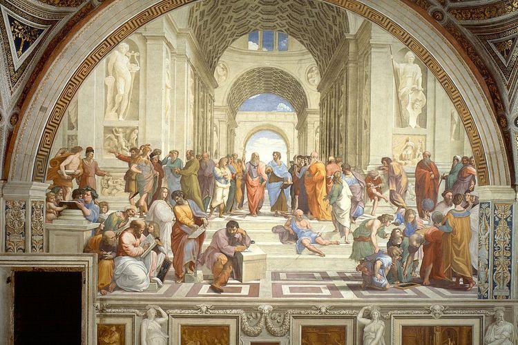 Mazhab Athena atau School of Athens, sebuah fresko karya Raphael Sanzio yang menggambarkan para filsuf renaisans berdiri di dekat para ilmuwan Romawi dan Yunani kuno.