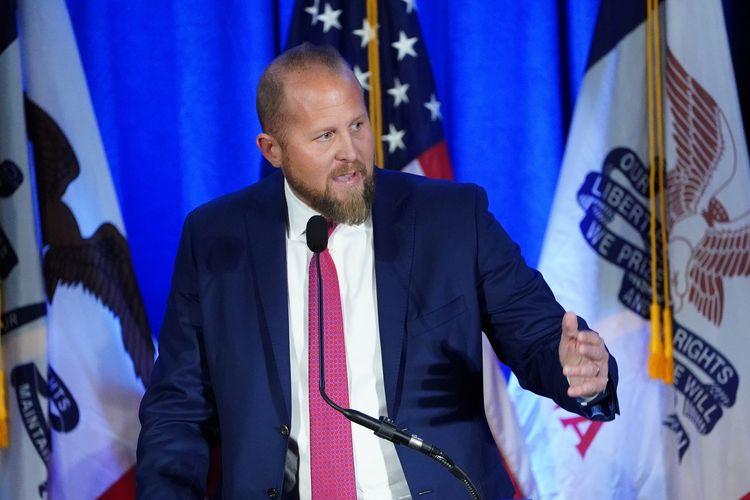 Brad Parscale saat menjabat sebagai manajer kampanye Donald Trump, dalam konferensi pers di Des Moines, Iowa, Amerika Serikat, 3 Februari 2020.