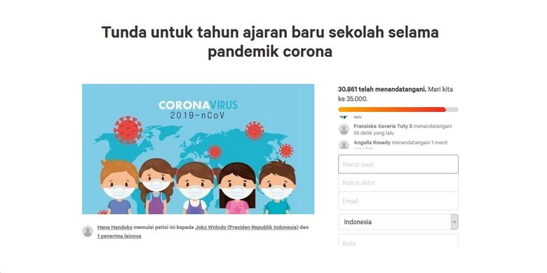 Petisi permintaan penundaan tahun ajaran 2020/2021 selama pandemi Covid-19 belum berakhir.