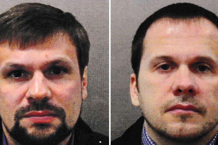 Alexander Petrov dan Ruslan Boshirov, dua terduga pelaku upaya pembunuhan mantan agen ganda Rusia. Sergei Skripal, pada 2018. Kini keduanya menjadi buruan polisi Ceko karena diduga terlibat dalam ledakan gudang amunisi di 2014.