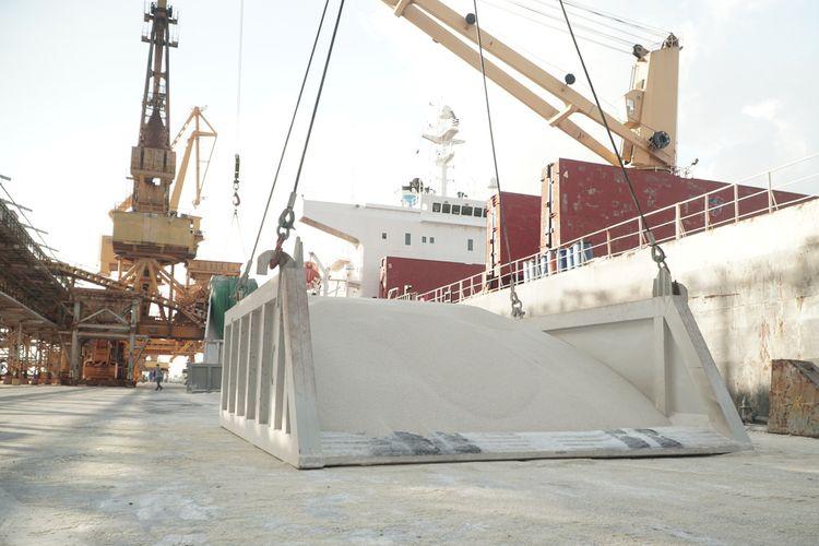 Pupuk NPS produksi PT Petrokimia Gresik saat hendak diekspor ke India.