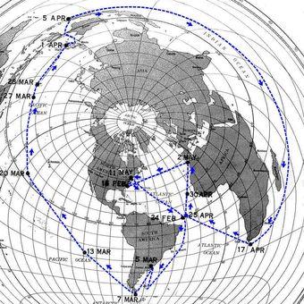 Peta perjalanan USS Triton
