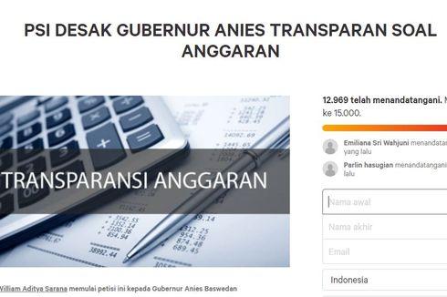 Muncul Petisi Desak Anies Unggah Rancangan Anggaran DKI Jakarta 2020