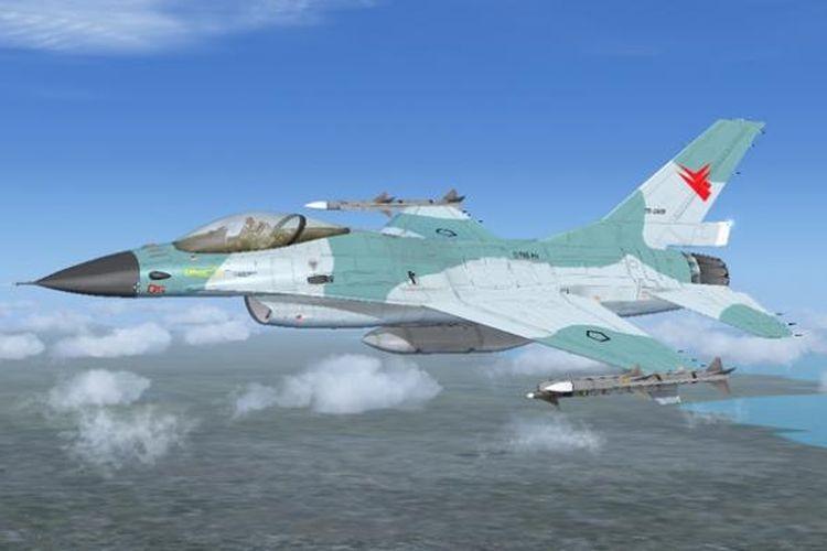 Pesawat tempur F-16 Fighting Falcon milik Angkatan Udara Indonesia.