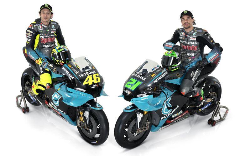 Rossi dan Morbidelli dengan livery terbaru Petronas Yamaha Sepang Racing Team