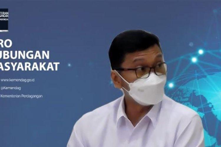 Direktur Jenderal Perundingan Perdagangan Internasional Kemendag Djatmiko Bros Witjaksono saat jumpa pers virtual sengketa DS 484, Senin (31/2021). (Tangkapan layar)