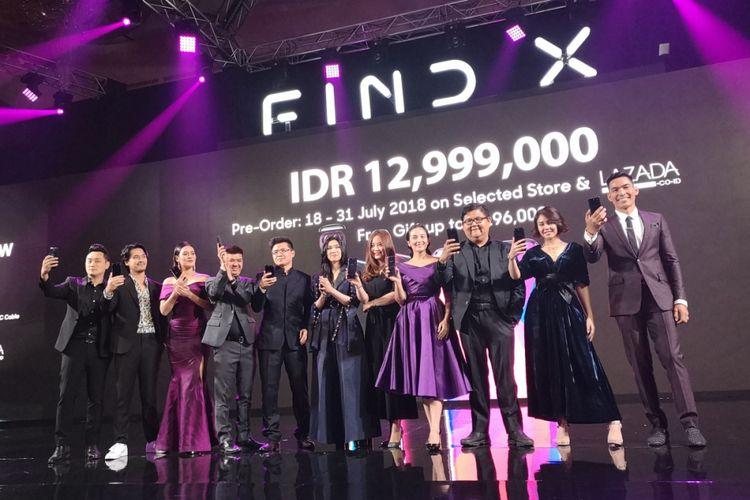 Peluncuran Oppo Find X di Jakarta, Rabu (18/7/2018).