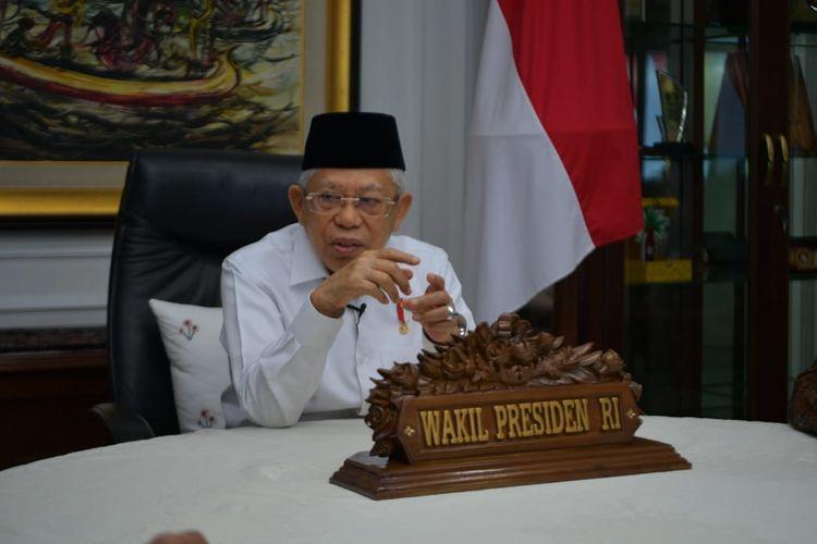 Wakil Presiden Maruf Amin saat memberikan ucapan Peringatan Hari Pahlawan 2020, Selasa (10/11/2020).