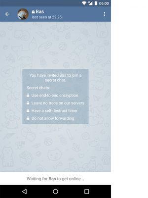 Tampilan awal Secret Chat di Telegram.