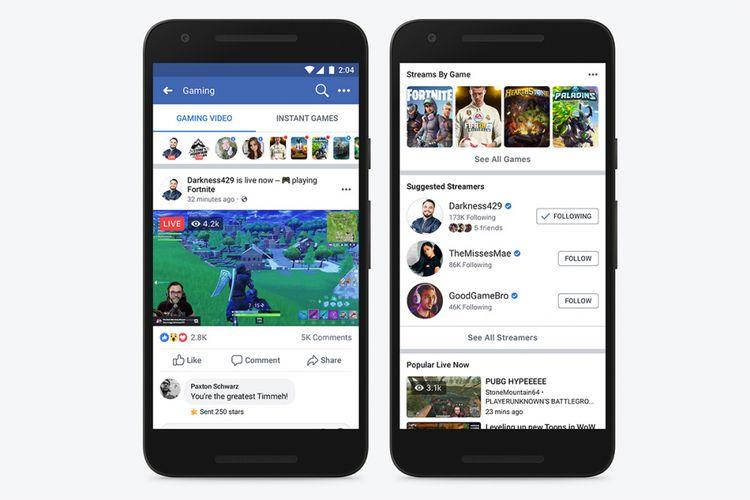 Tampilan landing page Facebook Gaming di ponsel.