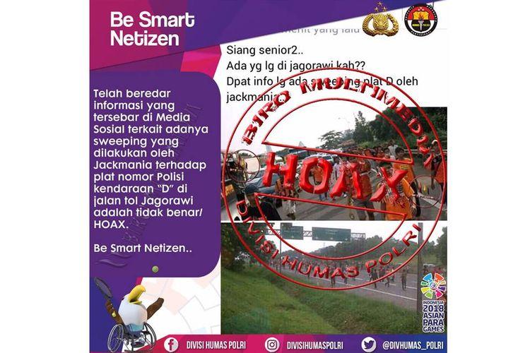 Beredar informasi mengenai sweeping kendaraan berplat D yang melintas di Tol Jagorawi. Polri memastikan informasi tersebut adalah hoaks.