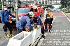 Pria Gangguan Jiwa Terperangkap di Pembatas Jalur Sepeda Sudirman