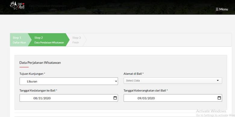 Tahapan mengisi data diri wisatawan di LOVEBALI.