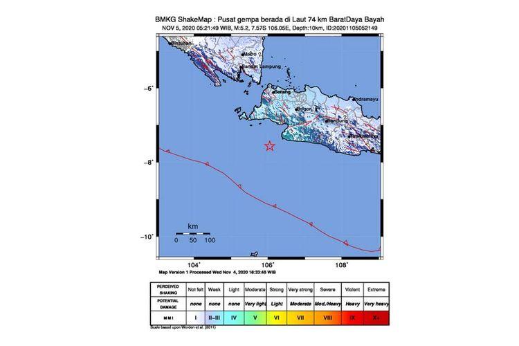 Gempa dengan magnitudo 5,2 mengguncang wilayah Banten dan sekitarnya, Kamis (5/11/2020).
