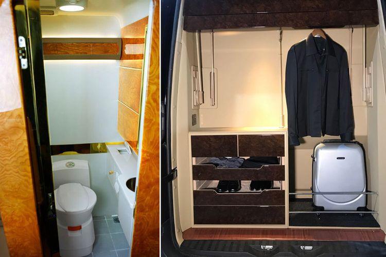 Ada toilet dan gantungan baju di kabin mobil.