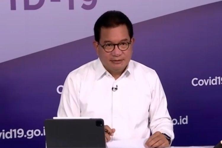 Jubir Wiku gelar konferensi pers secara live melalui aplikasi Zoom di Media Center Satuan Tugas (Satgas) Covid-19, Graha Badan Nasional Penanggulangan Bencana (BNPB) Jakarta, (13/10/2020).