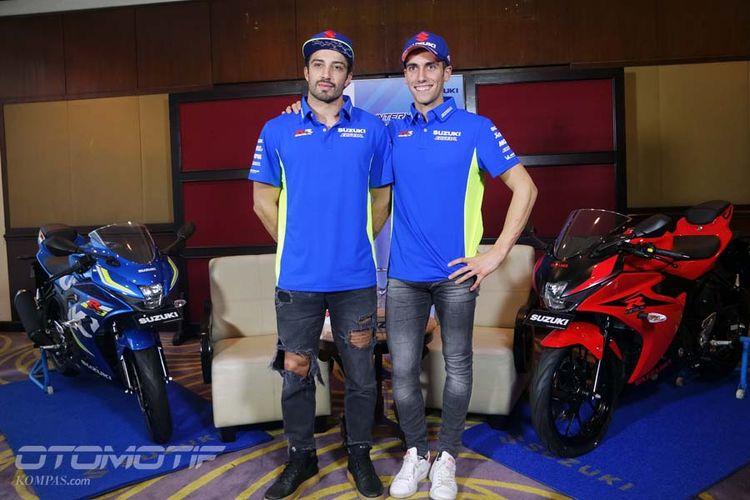 Dua pebalap Suzuki Ecstar Andrea Iannone dan Alex Rins berkunjung ke Indonesia, Jumat (2/2/2018).