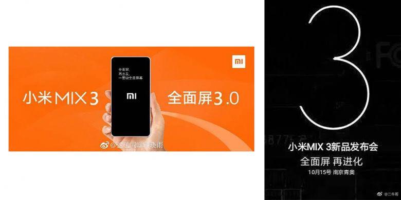 Bocoran poster dari Weibo yang memuat tanggal peluncuran Xiaomi Mi Mix 3.