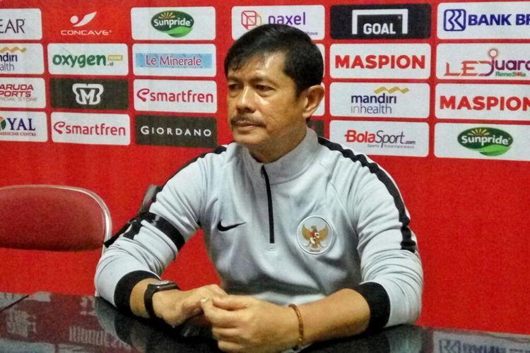 Pelatih Timnas Indonesia U23 Indra Sjafri saat jumpa pers seusai laga melawan PSIM Yogyakarta di Stadion Sultan Agung Bantul