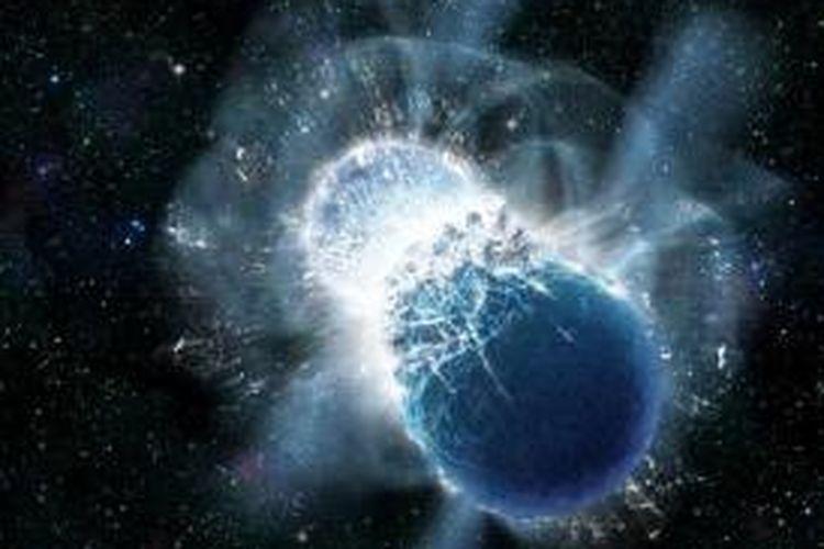 Ilustrasi tumbukan bintang neutron. Astronom mengatakan, tumbukan bintang neutron itulah yang membuat Bumi sekarang punya emas.