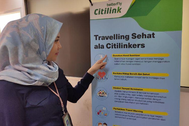 VP Marketing and Distribution Channel Citilink Amalia Yaksa memberikan penjelasan tentang Traveling Sehat, Kamis (5/3/2020).
