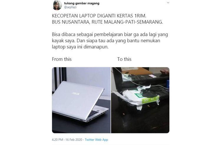 Tangkapan layar dari sebuah unggahan mengenai seorang perempuan yang kecopetan laptop kemudian diganti dengan kertas 1 rim.