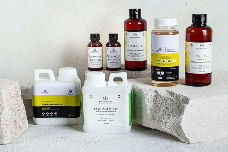 Ragam produk Maharani Kahiyang, mulai dari Eucalyptus Globulus, Cajuput Essential Oil, minyak serai Citronella dan Lemongrass, hingga minyak telon. (DOK. MAHARANI KAHIYANG)