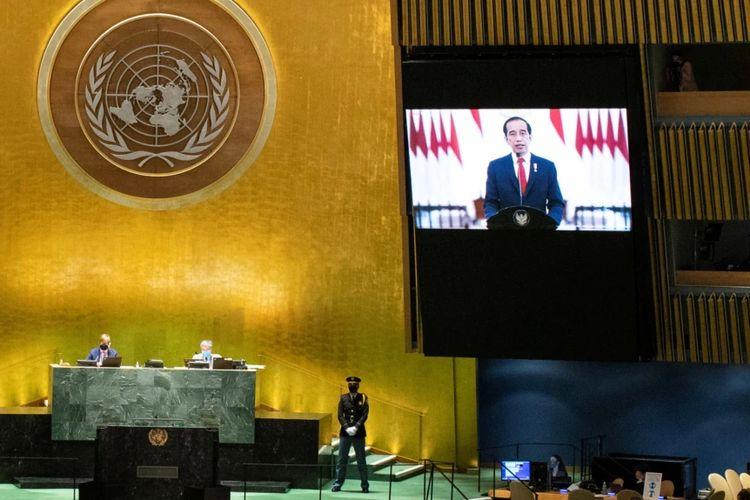 Presiden Joko Widodo memberikan pidato pada sidang Umum PBB secara virtual, Rabu (22/9/2021).
